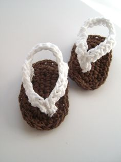 Crochet White Baby Sandals Crochet Flip Flops by puddintoes