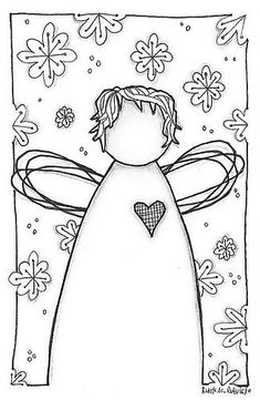 Snow Angel by Ruth Davis, via Colouring Pages, Adult Coloring Pages, Coloring Books, Christmas Colors, Christmas Art, Christmas Doodles, Angel Crafts, Snow Angels, Paper Embroidery