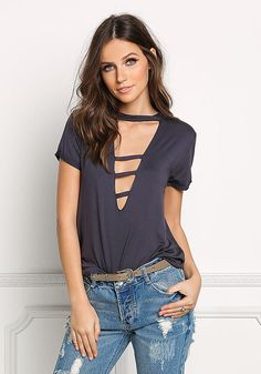 Charcoal Jersey Knit Plunge Strap Tee - New