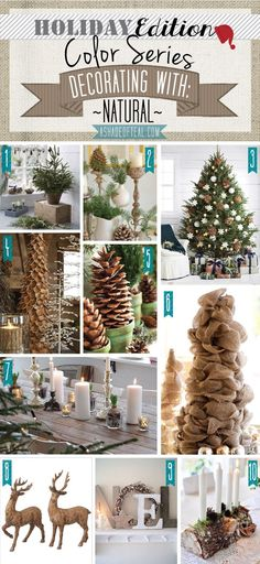 Holiday Color Series; Decorating with Natural. Natural Rustic holiday home decor   A Shade Of Teal