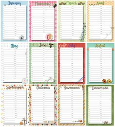 Perpetual Birthday calendar. 4x6 printable to fit in clear frame and change month to month.