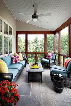 Superieur Contemporary Porch With Exterior Stone Floors, Legends Of Asia Black  Ceramic Garden Stool, Sunroom, Ceiling Fan