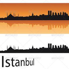 Istanbul Skyline in Orange Background