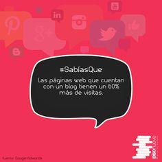 Las páginas web que cuentan con un blog tienen un 60% más de visitas. #piso9digital #sabíasque #blog