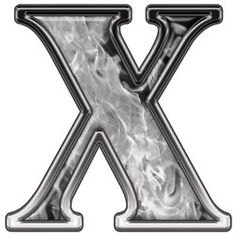 Reflective Letter X with Inferno Gray Flames