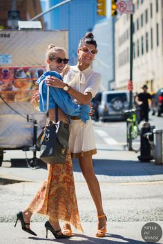 New York Fashion Week SS 2016 Street Style: Giovanna Battaglia and Micol Sabbadini