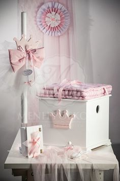 Pink crown Christening set