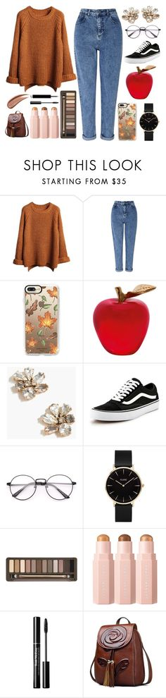"""Untitled #104"" by believerofhappiness ❤ liked on Polyvore featuring Miss Selfridge, Casetify, Daum, J.Crew, Vans, CLUSE and Urban Decay"