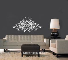 Lotus Flower Yoga Meditation Wall Art Stickers Decal Wall Art Home Decoration Wall Sticker Removable Decor Wall Stickers