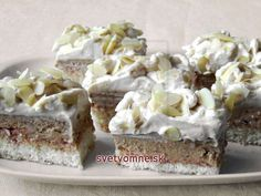 Creamy cuts with rich filling for coffee and coconut lovers. Dessert Bars, Dessert Recipes, Y Recipe, Coconut Slice, Cream Cheese Eggs, Czech Recipes, Sweet And Salty, Coffee Cake, Food Dishes