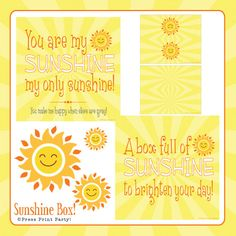 DIY, Sunshine Box Printables - Great for a sick friend The lady I first gave a full box of sunshine too still talks to me about how much it meant to her to this day. It really lift spirits....