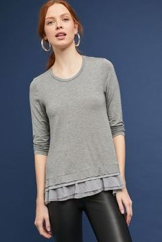 09db74344f Shop the Woven Ruffled-Hem Tee and more Anthropologie at Anthropologie  today. Read customer