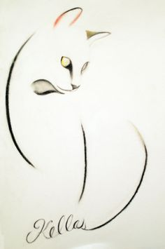 ARTFINDER: A Cat of Three Lines by Kellas Campbell - I used carbon pencil, charcoal pencil and pastel pencil to draw this elegant, long-limbed cat.