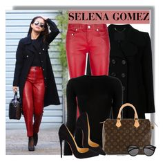 """Selena Gomez in red leather pants"" by anne-mclayne ❤ liked on Polyvore featuring Marc Jacobs, Yves Saint Laurent, Alexander Wang, Louis Vuitton, Christian Louboutin, GetTheLook, StreetStyle, selenagomez, CelebrityStyle and REDLEATHER"