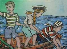 Children Painting by David Bromley - Treasure Hunters in Boat