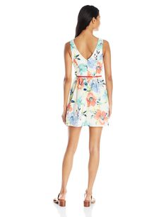Speechless Juniors Sleeveless Floral Print Dress Ivory/Coral 11 *** See this great product. (This is an affiliate link) #CasualDresses