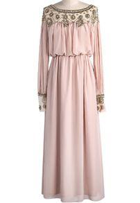Apricot Long Sleeve Haute Bead Crystals Rhinestones Pleated Chiffon Dress