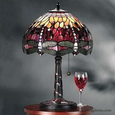 Interiors 1900 Red Dragonfly Small Tiffany Table Lamp: Red Dragonfly Tiffany Table Lamp small fitting and shade A dynamic design set in a hue of red a Tiffany Style Table Lamps, Tiffany Lamps, Interior Room Decoration, Room Interior, Interior Design, Tiffany Art, Art Deco Lamps, Direct Lighting, Antique Lamps