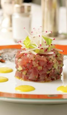 """""""A Table at Le Cirque"""" by Siro Maccioni and Pamela Fiori photo by: Ben Fink Dish: Curried Tuna Tartare Chef: Sottha Khunn Fish Recipes, Seafood Recipes, Cooking Recipes, Healthy Recipes, Healthy Food, Eating Healthy, Salad Recipes, Tuna Tartare Recipe, Sushi"""