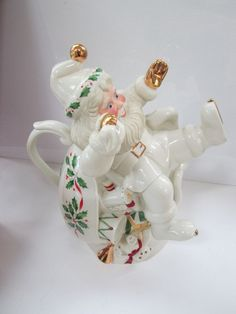 Lenox For The Holidays Holiday Santa Teapot Gold Trimmed Christmas Ceramic   #Lenox