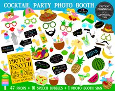 PRINTABLE Cocktail Party Photo Booth Props-Cocktail Photo Props-Drinking Props-Printable Cocktail Props-Drinking Party Props-Drinks Photo Props-Fruits Props-Summer Party Photo Props-Instant Download Photos Booth, Photo Booth Props, Mojito, Tequila, Thor, Brave, Viking Party, Photobooth Props Printable, Party Props