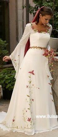 romantic wedding dress, beautiful flower embroidery