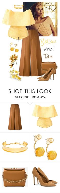 """Yellow and Tan"" by giovanina-001 ❤ liked on Polyvore featuring Marni, Maticevski, BaubleBar, Lydell NYC, Alexander McQueen and Dee Keller"