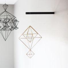 brass himmeli mobile - hanging mobile - modern mobile - sculpture - geometric - brass - finnish design - home decor. $80.00, via Etsy.