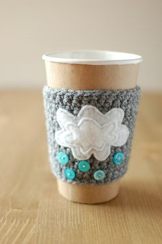 Cup Cozy with clouds and rain by The Cozy by thecozyproject, $17.00