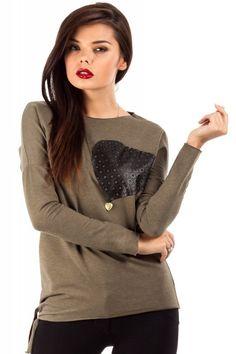Bluza ze skórzanym sercem MOE048 khaki