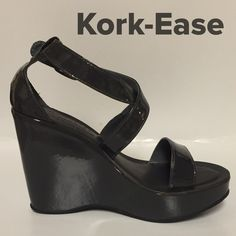 "NWOB. KORK-EASE WEDGES Step out in style!!!  These are beautiful and Compy!!!  Just a tad to small for me. Only worn in house for modeling. Beautiful Charcoal Gray Leather and known for their light weight and comfort. Color goes with almost anything. Front platform measures 1.75"" and back measures 4"". Just a little over a 2"" incline.  Kork-Ease Shoes"