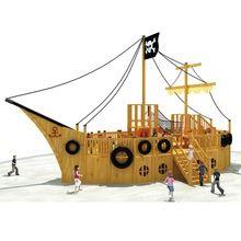 wooden pirate ship playground equipment for children