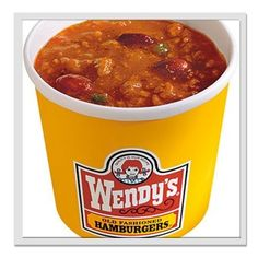 Wendys chili and I admit I love this stuff as is, over salad greens, on a baked potato, over baked corn tortillas, etc.