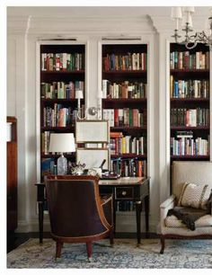 Nice Bookshelves  Like the dark against the white