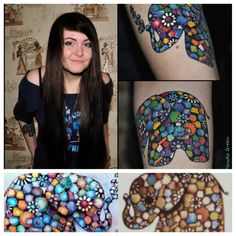 Beautiful Elephant Tattoos | tattoos of girls and elephants, birds and owls