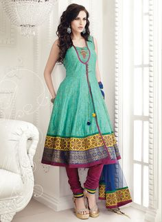 I'd like to attempt duplicating this one. Beautiful! Aqua Green And Magenta Anarkali Suit