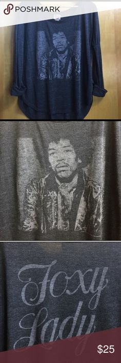 "Junk Food Jimi Hendrix tee Junk Food Jimi Hendrix tee. Measures 24"" from top of shoulder seam to bottom and 24"" from armpit to armpit . Perfect condition. Not NWT but never worn. Junk Food Tops Tees - Long Sleeve"