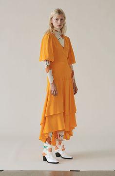 Wilkie Seersucker Wrap Dress, Turmeric Orange