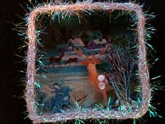 a funky turquoise vintage card was the scene for this little box diorama ornament