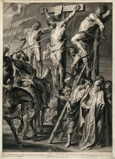 The Crucifixion of Christ; His Side is Punctured by a Soldier's Lance Engraving by B. van Bolswert after P. Jesus Christ Painting, Jesus Art, Catholic Art, Religious Art, Crucifixion Of Jesus, Pictures Of Jesus Christ, Jesus Tattoo, Christian Artwork, Religious Tattoos