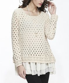 Beige Open-Weave Tiered Sweater by Simply Couture #zulily #zulilyfinds