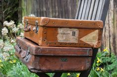"Vintage Leather Suitcase ""The Aldersgate"" London- with Brass Fittings,suitcase,vintage,travel,trunk,luggage,antique,leather,brass,initials,"