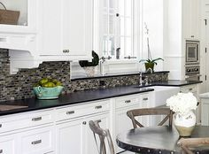white cabinets with black granite countertops backsplash tilebacksplash - Black Granite Countertops With Tile Backsplash