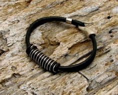FREE SHIPPING ..Men or Women unisex leather bracelet. Black leather and wire  wrap work bracelet with silver hook clasp.