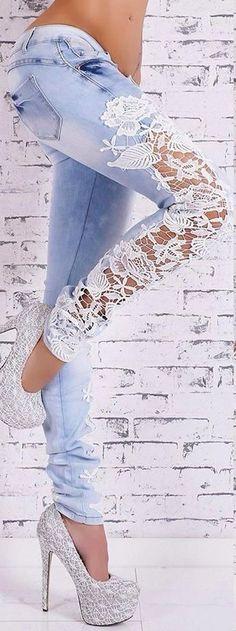 calça jeans com renda na lateral - Pesquisa Google
