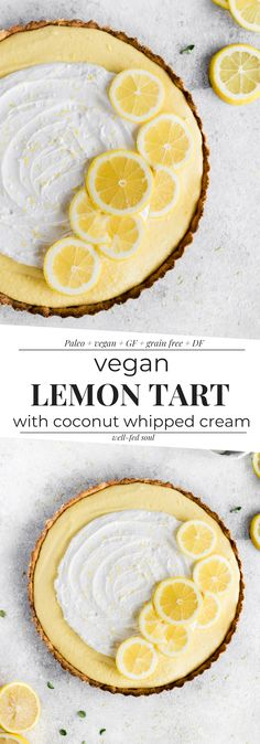 Vegan Lemon Tart is a fresh vibrant and creamy dessert perfect for your Easter gathering! Almond flour crust a zesty cashew filling and coconut whipped cream makes for one irresistible vegan dessert! Coconut Whipped Cream, Coconut Flour, Almond Flour, Lemon Cream, Lemon Coconut, Vegan Dessert Recipes, Vegan Sweets, Gourmet Recipes, Vegan Lemon Desserts
