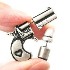 Gun Pistol and Bullet Shaped Fake Gauge Plug Stud Earrings in Silver $12.50