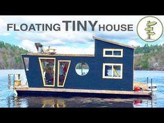 Living on a 4 Season Houseboat - Beautiful Floating Tiny House! - YouTube