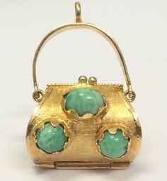 Vintage Ornate Yellow Gold Purse Handbag Charm Pendant Cabochon Turquoise in Jewelry & Watches, Vintage & Antique Jewelry, Fine, Charms & Charm Bracelets Antique Jewelry, Vintage Jewelry, Gold Purses, Size 10 Rings, Mellow Yellow, Turquoise Stone, Purses And Handbags, Jewelery, Jewelry Design