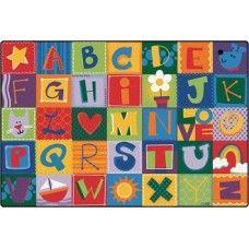 Kids Rugs: Toddler Alphabet Blocks - 4' x 6' Rectangle
